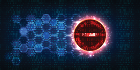 honeycombs in a digital view with the word malware highlighted